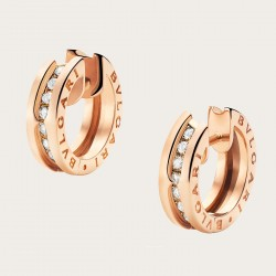 BULGARI BZERO1 PINK GOLD DIAMONDS EARRINGS