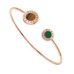 BULGARI-BULGARI BRACELET PINK GOLD TIGER'S EYE AND MALACHITE