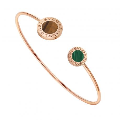 BULGARI BULGARI BRACELET PINK GOLD TIGER'S EYE AND MALACHITE