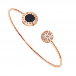BULGARI-BULGARI BRACELET PINK GOLD ONYX AND PAVÉ DIAMONDS