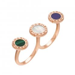 BULGARI-BULGARI RING PINK GOLD MALACHITE MOTHER OF PEARL AND SUGILITE