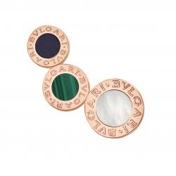 BULGARI BULGARI PINK GOLD SINGLE EARRING MALACHITE MOTHER OF PEARL AND SUGILITE