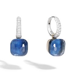 POMELLATO NUDO ORECCHINI BLUE TOPAZIO LONDON/TURCHESE E DIAMANTI