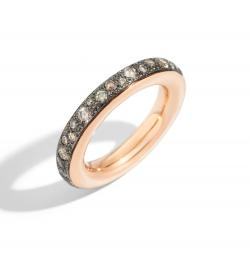 POMELLATO ICONICA ANELLO ORO ROSA DIAMANTI BROWN