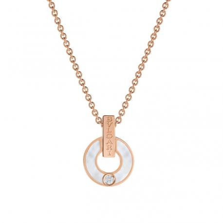 BULGARI BULGARI PINK GOLD NECKLACE WITH MOTHER OF PEARL AND DIAMOND
