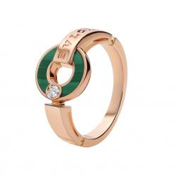 BULGARI BULGARI PINK GOLD RING WITH MALACHITE AND DIAMOND