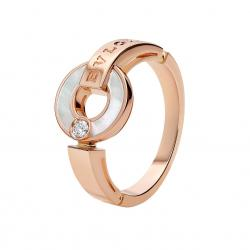 BULGARI BULGARI PINK GOLD RING WITH MOTHER OF PEARL AND DIAMOND