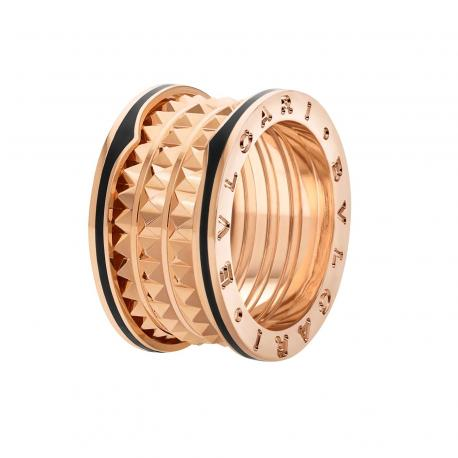 BULGARI BZERO1 ROCK PINK GOLD 4 BANDS RING CERAMIC