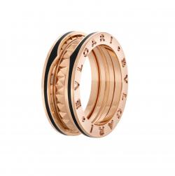 BULGARI BZERO1 ROCK PINK GOLD 2 BANDS RING CERAMIC