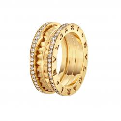BULGARI BZERO1 ROCK YELLOW GOLD 2 BANDS RING DIAMONDS