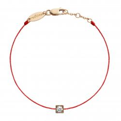 RED LINE CUBE BRACELET ROUGE OR ROSE DIAMANT