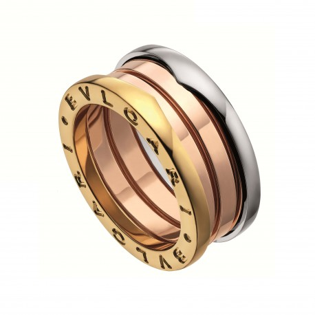 BULGARI BZERO1 WHITE, PINK AND YELLOW GOLD RING