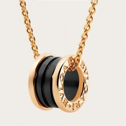 BULGARI BZERO1 PINK GOLD BLACK CERAMIC PENDANT