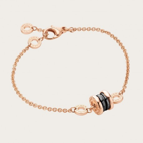 BULGARI BZERO1 MINI PINK GOLD BLACK CERAMIC BRACELET