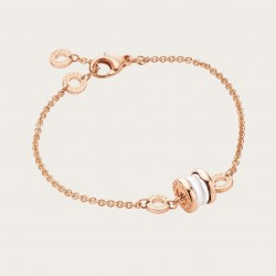 BULGARI BZERO1 MINI PINK GOLD WHITE CERAMIC BRACELET