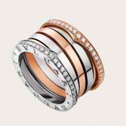 BULGARI LABYRINTH PINK AND WHITE GOLD DIAMONDS RING