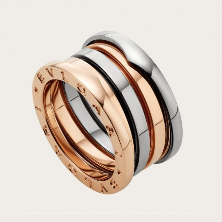 BULGARI LABYRINTH PINK AND WHITE GOLD RING