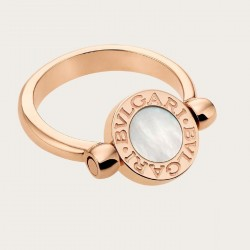 BULGARI BULGARI MOTHER OF PEARL AND CARNELIAN REVERSIBLE RING