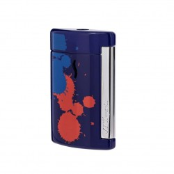 S.T DUPONT BRIQUET MINIJET BLEU SPLASH CHROME