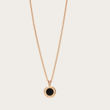 BULGARI BULGARI PINK GOLD-ONYX-DIAMONDS PENDANT