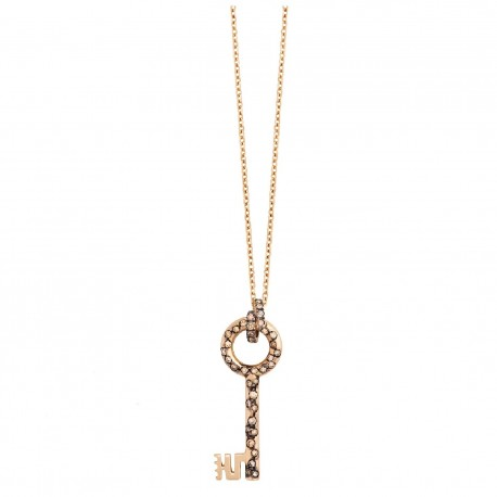 LA MARGINEDA MEDIEVAL JEWELS PINK GOLD NECKLACE WITH BROWN DIAMONDS