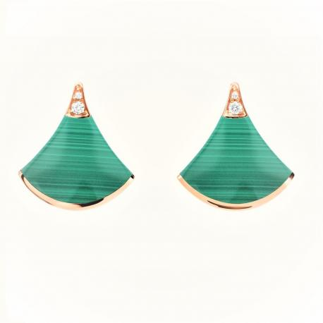 BULGARI DIVA PINK GOLD EARRINGS WITH MALACHITE AND PAVÉ DIAMONDS
