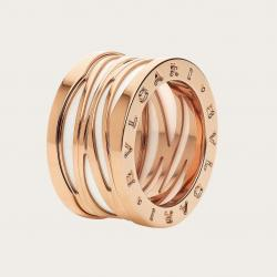 BULGARI BZERO1 ZAHA HADID PINK GOLD WHITE CERAMIC RING