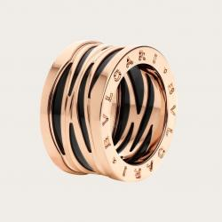 BULGARI BZERO1 ZAHA HADID PINK GOLD BLACK CERAMIC RING